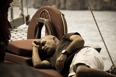 Sleepy Captain (Michael from Austria) Tags: man turkey boat sleep trkei antalya captain boattrip gulet mediteranian turkishgulet