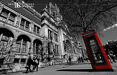 London Calling (davidgutierrez.co.uk) Tags: street city uk travel sky people urban blackandwhite bw london art monochrome museum architecture clouds buildings va londres phonebox  londyn    sonyalphadt1118mmf4556 sony350dslra350