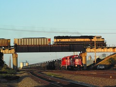 Under & Over (Chrisracer8903) Tags: santa railroad bridge columbus sunset 3 burlington train island nebraska pacific iii union central railway grand trains class lincoln fe northern ge kearney bnsf flyover ravenna emd sd402 shortline sd70mac