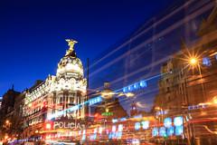METROPOLIS (Rober1000x) Tags: madrid city longexposure architecture night spain arquitectura europa europe downtown espana bluehour 2014 trailights