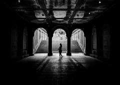 Silhouette Girl (Anatoleya) Tags: city nyc newyork girl silhouette stairs canon dark centralpark manhattan 5d hdr bethesdaterrace 5d3 anatoleya