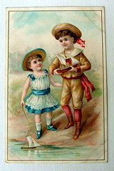 VICTORIAN TRADE CARD  CORDOBA COFFEE TRADE CARD PITTSBURGH CUTE BOY & GIRL WITH TOY BOATS (oldsailro) Tags: park old boy sea summer people sun lake playing beach water pool girl sunshine youth sailboat race vintage children fun toy boat miniature wooden pond model waves sailing ship time yacht antique group boom mast hull keel