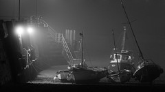 Broadstairs Noir (markkilner) Tags: sea england blackandwhite bw mist fog night canon boats eos 50mm coast kent noir jetty 7d dslr broadstairs vikingbay kilner winterwatch