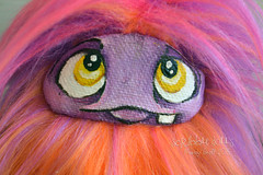 Neon orange, pink, and purple fluff (Scribble Dolls) Tags: cute art monster fur toy happy miniature stuffed furry doll sweet handmade ooak critter small fluffy mini fluff plush softie fabric tiny stuffedanimal handpainted plushie faux handsewn cloth pocket creature sewn scribbledolls