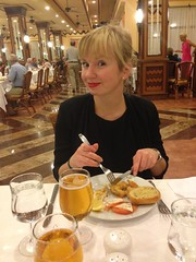 Anette having some food from The buffet restaurant!