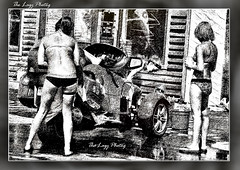 July 20 2012 - High contrast of young bike washers (lazy_photog) Tags: girls red white black bike photography women montana rally young lodge wash lazy bikini motorcycle wyoming elliott photog beartooth worland