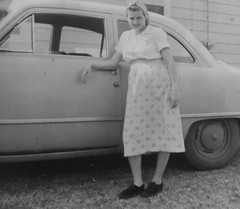 She had one in the oven so excuse her fashion in 1951. (kennethkonica) Tags: old family people blackandwhite woman usa fashion america canon vintage mom photo midwest random indianapolis mother picture indy indiana indoor persons past mothersday global hoosiers canonpowershot indianahome