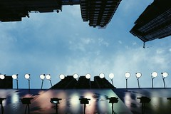 right when night falls (yyleong) Tags: city sky architecture night buildings lights citylife billboards