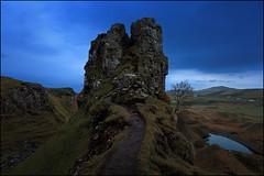 Fairy Glen (jeanny mueller) Tags: uk sunset mountain tree skye rock way landscape scotland highland fels landschaft baum schottland trotternish fairyglen