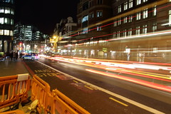 Light Trail - Liverpool Street (iam.josh) Tags: park city london skyline night landscape stpauls olympic canarywharf lighttrail