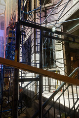 perfectly good building, gone (nicknormal) Tags: newyork us scaffolding unitedstates scaffold longislandcity
