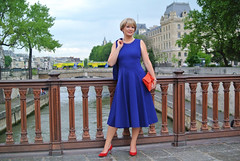 Midlifechic in Winser London | Cobalt blue midi dress and jacket with red heels (Not Dressed As Lamb) Tags: london fashion log style blogger fashionista winser