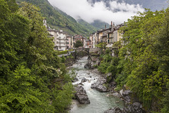 jungle (crazyhorse_mk) Tags: italy house mountain alps building tree nature water rain fog forest river landscape town canyon valley gorge lombardia chiavenna