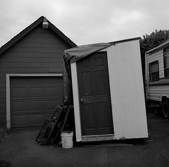 Oregon City (austin granger) Tags: door geometry garage shed shapes rv leaning oregoncity gf670 austingranger