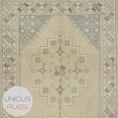 """Description:  Vintage faded area rug from Konya region of Turkey. In good condition. Approximately 50-60 years old. Width: 4' 5"""" - Length: 8' 8"""" Vintage Piled Rugs Price: $495 (unicus-rugs) Tags: inspiration home motif vintage colorful pattern handmade interior symmetry homedecorating rugs interiordesign homedecor kilim vintageprints handknotted vintagerug kilimrug uploaded:by=instagram instagood instahome unicusrugs"""