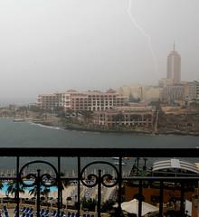 Thunder storm in Malta (Sam Rigby Photo) Tags: sea storm rain hilton malta lightening corinthia