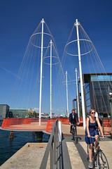 Copenhagen, The Circle Bridge (Thomas Roland) Tags: denmark danmark kbenhavn copenhagen summer sommer havn harbour harbourfront cyclist bro bridge pedestrian cirkelbroen circle