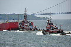 Picture Taken From The Staten Island Ferry Of The Tugboat Marion Moran Pushing A Barge And Tugboat Marie J Turecamo Following. Photo Taken Monday June 27, 2016 (ses7) Tags: ferry island staten viewtugboat