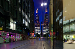 Shard reflections (raphael.chekroun) Tags: city uk longexposure england london thames architecture modern hall nightshot bluehour shard hdr morelondonriverside erstandyoung