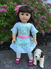 Out for a walk (Foxy Belle) Tags: samantha ag american girl 18 inch dress lace pink turquoise blue ribbon hair romantic stuffed dog puppy pet animal special occassion beforever
