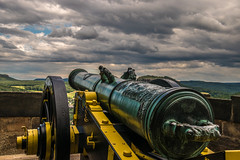 its a cannon, not a nikon (bocero1977) Tags: old trees light sky panorama mountains green history nature colors lines weather wheel stone skyline clouds germany landscape wooden nikon mood view outdoor steel wide weapon cannon fields cloudporn elbsandsteingebirge