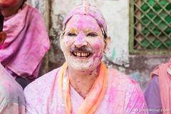 Smiling Moustach (Jakob Kolar) Tags: street travel pink portrait india men water colors face festival happy asia colours religion celebration hindu indien colorfestival mathura holifestival uttarpradesh festivalofcolours coloredface
