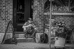 Taking A Break (Jim-Mooney) Tags: street portrait people blackandwhite bw white black monochrome photography mono blackwhite fuji monotone kansascity crossroads fujinon xt1 50140mm