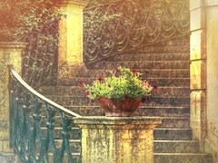 Around the Stairway (clarkcg photography) Tags: flowers oklahoma stone stairs garden outside outdoor steps stairway pot handrail tulsa banister potted rodiron philbrook philbrookmuseumofart