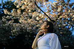 Smelling the spring (Samir D) Tags: white canada vancouver canon eos spring model dress designer ubc madina cherryblossom northamerica vans russian vancity 2016 markiii 35mm14 samird vancitybuzz