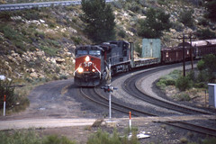 Southern Pacific AC4400CW #298 heads east at Castle Gate  UT on 7-17-96 (LE_Irvin) Tags: southernpacific ac4400cw castlegateut