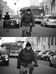 [La Mia Citt][Pedala] (Urca) Tags: portrait blackandwhite bw bike bicycle italia milano bn ciclista biancoenero bicicletta 2016 pedalare dittico 85563 ritrattostradale nikondigitalemir