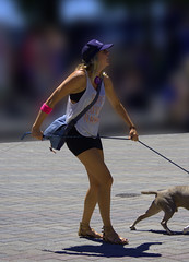 Who Is In Control? (swong95765) Tags: woman dog animal female power battle human will leash struggle puller pulled