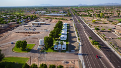 Highley District (Techjunkie00) Tags: road street old trees arizona sky tower home water mobile nice gilbert higley