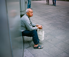 Elderly resting at exit gateway, Central, HK 2012 (kamshingk) Tags: street hk color colour 6x6 film square kodak streetphotography pedestrian hong elderly squareformat gateway format resting filmcamera 6x7 exit nikkor portra 67 670 160 plaubel makina middleformat streey filmisnotdead 8028 isshootfilm filmneverdie believeinfilm keepcalmandusefilm buyfilmnotmagapixels isstillshootfilm