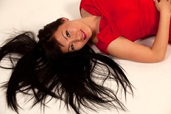 Me in red... (zhirlimann) Tags: red portrait woman girl beauty smile lady asian dress photoshoot longhair indoor whitebackground lovely blackhair