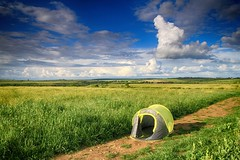 A tent on a path in a field in Dorset (OutdoorMonkey) Tags: cloud field rural countryside track path bluesky tent dorset openspace worthmatravers