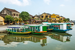 Riverside with Boats, Hoi An (philhaber) Tags: city reflection water river landscape boat town asia southeastasia cityscape village riverside tourist vietnam hoian riverbank indochina waterscape riverscape quangnam thubon