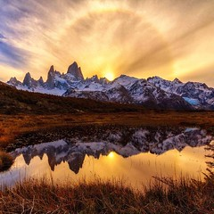 Ring of fire, Fitz Roy, Argentina | Photography by hiceshice (manbeachrm) Tags: blue sunset pordosol orange cloud sun silhouette skyline clouds sunrise landscapes sundown horizon natur sunsets puestadesol naturelovers naturelover   sunsetporn skyporn skylovers natureperfection sunsetstream landscapelovers instasky landscapecaptures trbsunsetsfx piclogy