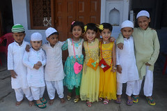 Eid celebration: Muslim cheldren dressed in new cloths seen in joyfull festival mood on the occasion of Eid-ul-Fitr (legend_news) Tags: mirzapur up india muslim cheldren dressed new cloths seen joyfull festival mood occasion eidulfitr