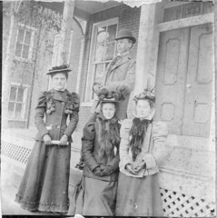 People standing in front of the Olinger residence (Meyersdale Public Library) Tags: houses people men women hats 1900s 1890s 1880s porches bowlerhats idacook kateolinger photobox12 cookalbum