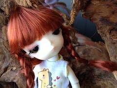 Piccola Litchi (Akemi^_^) Tags: door white cute face up yellow out doll dolls skin redhead wig tiny kawaii bjd cuteness bb custom litchi lati dollzone