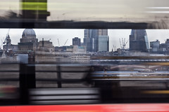 Waterloo Bridge (Gary Kinsman) Tags: motion reflection bus london tower thames skyline skyscraper river movement zoom telephoto motionblur through stpaulscathedral cityoflondon waterloobridge wc2 lookingthrough canon70300mm canoneos5dmarkii canon5dmkii