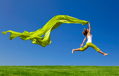 Jumping (elczyk) Tags: travel summer sky woman color green portugal nature girl beautiful beauty field grass sport female scarf landscape fun happy freedom flying spring jump jumping healthy women energy pretty slim wind action outdoor tissue joy young meadow free lifestyle happiness fresh health fabric enjoy fitness success vacations carefree fit active vitality