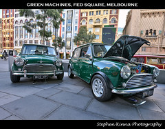 Green Machines, Federation Square, Melbourne (Stephen Kinna Photography) Tags: show uk original two green classic cars car club austin square photo twins nikon theatre forum victorian engine machine twin australia federationsquare melbourne mini victoria retro cooper restored modified british morris minor atrium hdr highdynamicrange federation flindersstreet stkildaroad showandshine miniclub nikond600 photoengine oloneo stephenkinna stephenkinnaphotography
