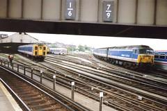 Clapham Junction, 26th October 1992 (elkemasa) Tags: emu 1992 claphamjunction class47 class465