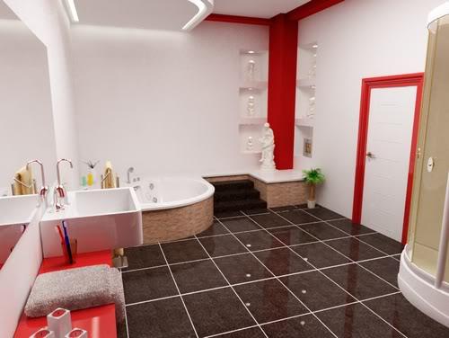 Fotos de Banheiros Decorados  Sofotosorg -> Banheiro Pequeno Decorado De Vermelho