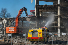 Working Together (Jocey K) Tags: newzealand christchurch sky people architecture truck buildings demolition vehicles cbd dust rubble