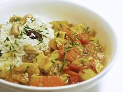 tofu curry rice (andy pucko) Tags: tomato ginger tofu stock salt curry potato butter carrot garlic onion turmeric chives cashew nutmeg sweetpepper basmatirice craisin redchile