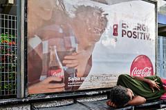 Welcome to the real world (fcribari) Tags: street brazil man reflection brasil fuji busstop cocacola recife homem pernambuco fujix100s x100s