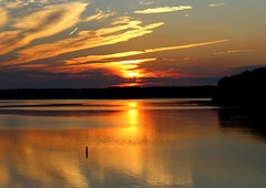 Thank the Lord for the night time (Sam0hsong) Tags: autumn sunset sky clouds day lakes northcarolina lakecrabtree partlycloudy pwpartlycloudy